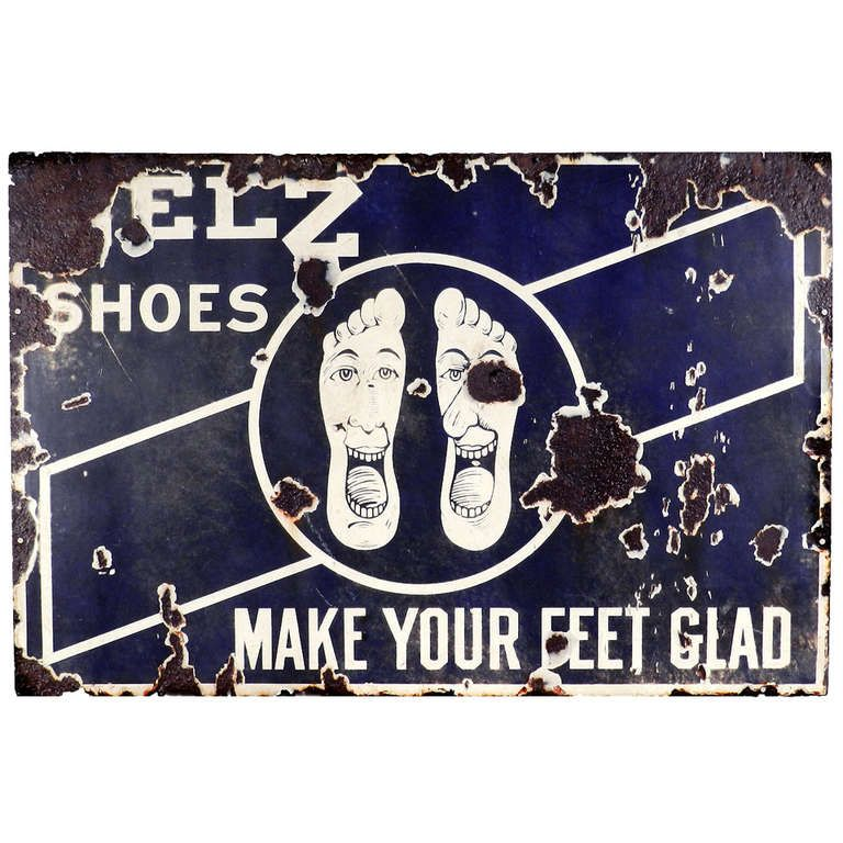 Glad Feet - Early Porcelain Advertising Sign