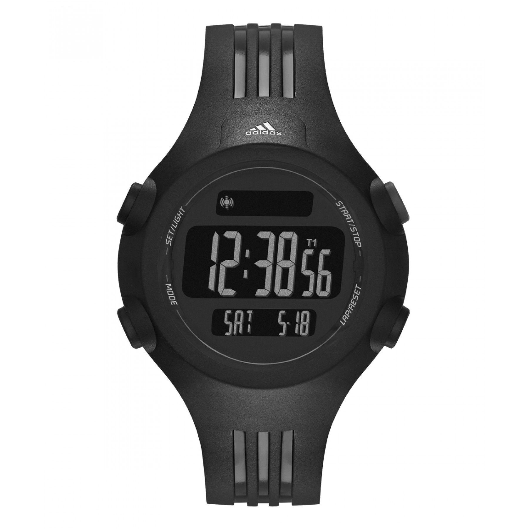 Reloj Adidas de caja y bisel en acero inoxidable color negro carátula  digital con modo luz 9d18ca86673