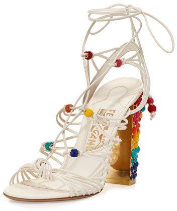 526b9f35be70 Ferragamo Rainbow-Studded Leather Gladiator Sandal