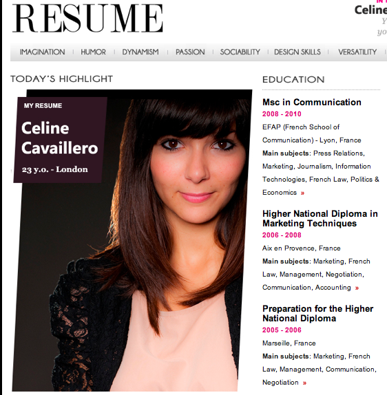 fashion resume in vogue style