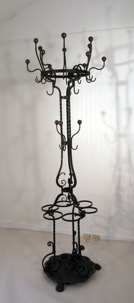 Wrought Iron Coat Rack Antique Blacksmith Made W Claw