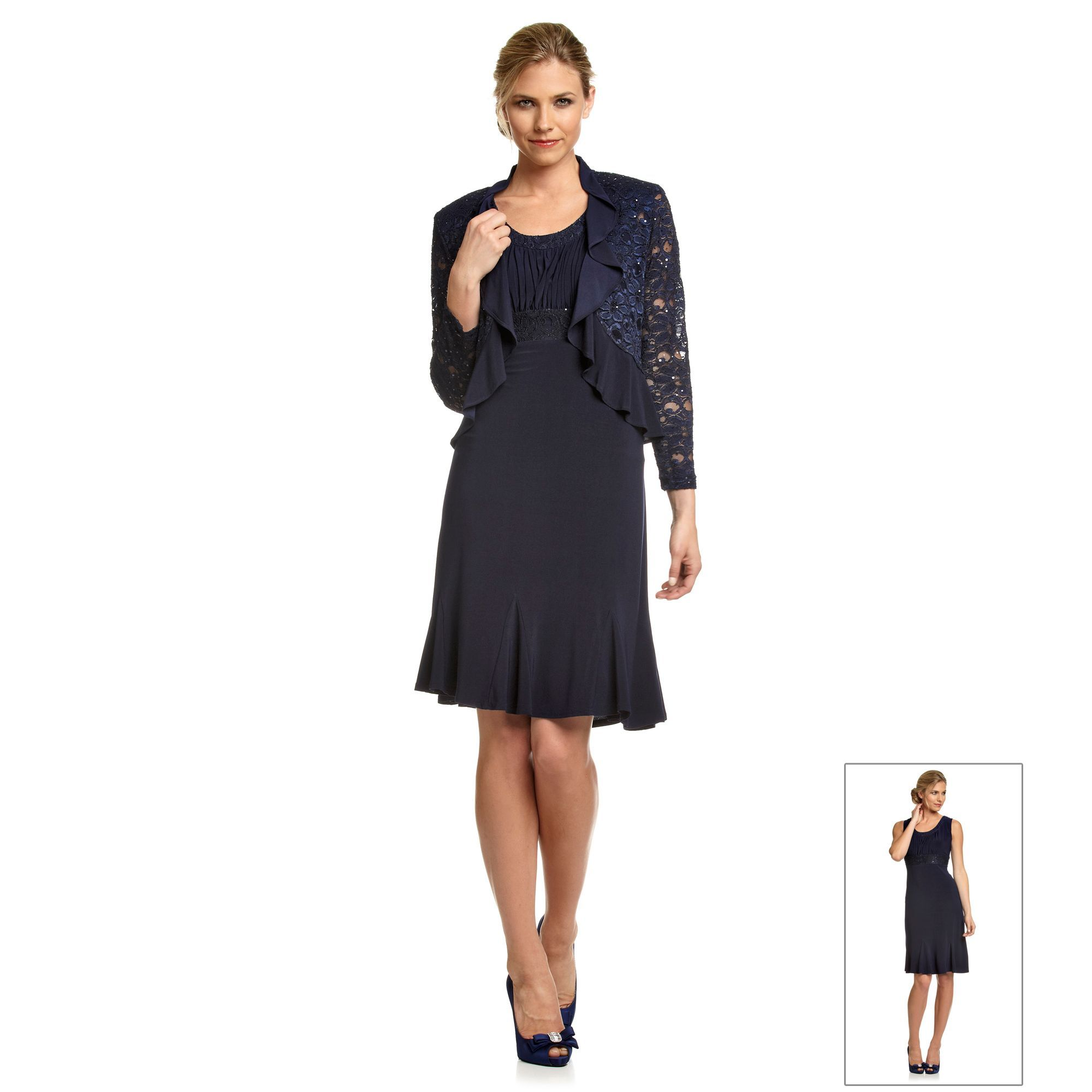 R&M Richards® Navy Lace Jacket over Lace-Trimmed Dress | Mother-of ...
