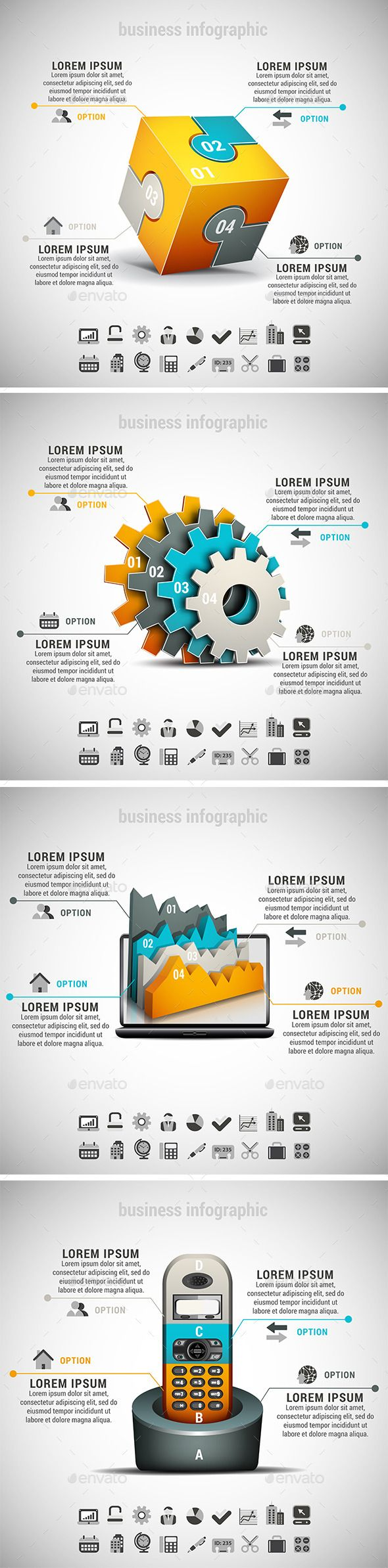 Business infographic : 4 in 1 Business Infographics Bundle  Photoshop PSD #corporate #illustration