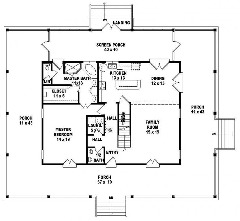 654064 One And A Half Story 3 Bedroom 2 5 Bath Florida Style House Plan House Pla Country Style House Plans Farmhouse Style House Plans One Bedroom House