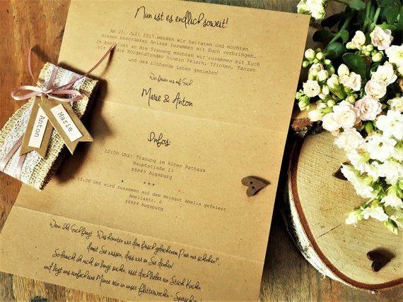 Hochzeitseinladung Vintage Invitation Wedding Boho Invitation Card