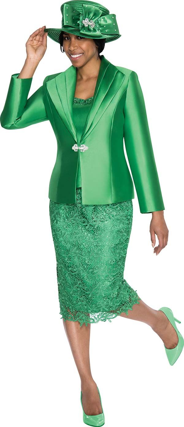Gmi G5273 Emerald Lace Embroidered Skirt Suit For Church Church