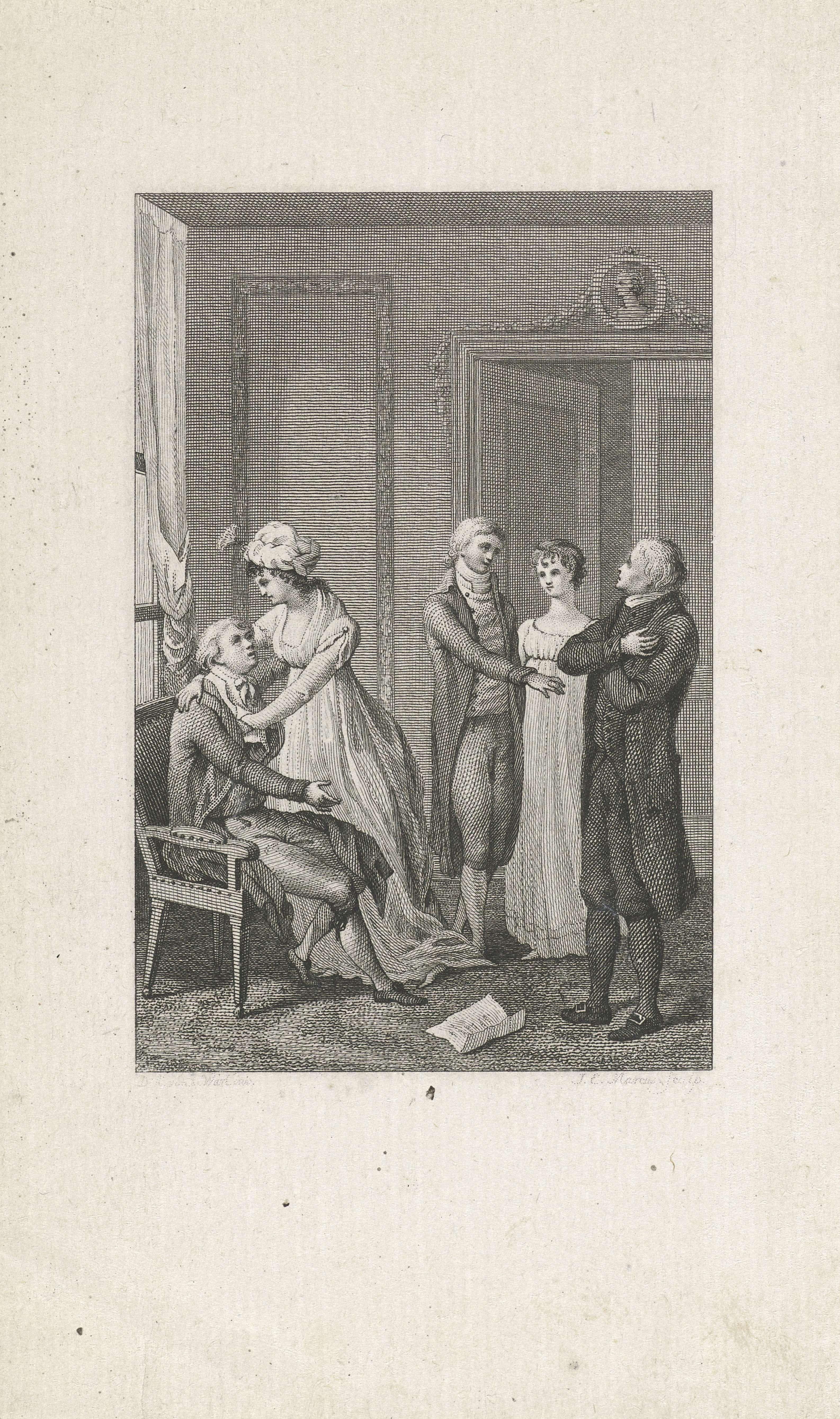 Jacob Ernst Marcus | Vijf figuren in een interieur, Jacob Ernst ...