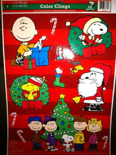 christmas window cling decorations | window clings, charlie brown
