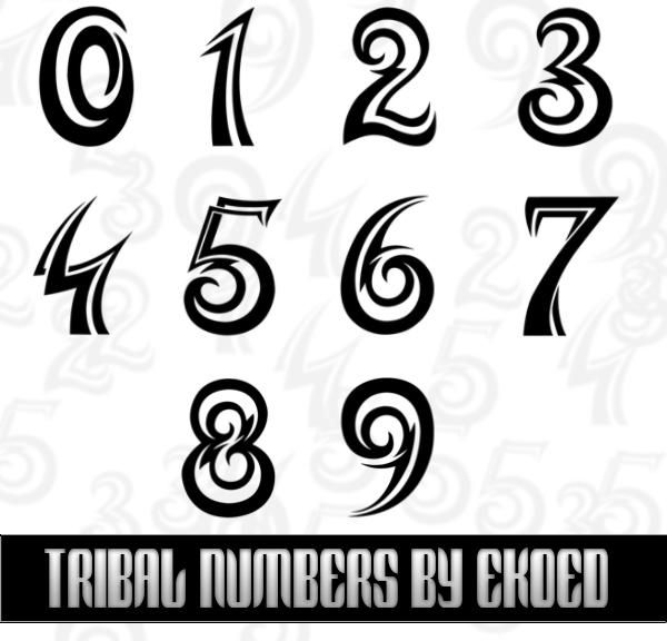 44b42a1d3 Tribal Numbers by ekoed photoshop resource collected by psd-dude.com from  deviantart