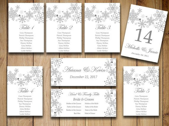 Winter Wedding Seating Chart Template  Snowflake Wedding Gray