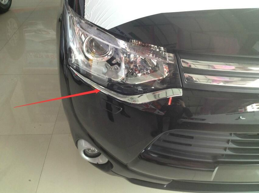 Fit Grand Cherokee 2014-2016 Front Headlight Lamp Eyebrow Eyelid Cover Trims