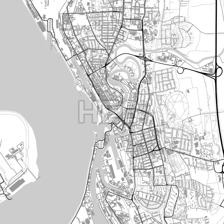 Bremerhaven Germany vector map with buildings Highway road