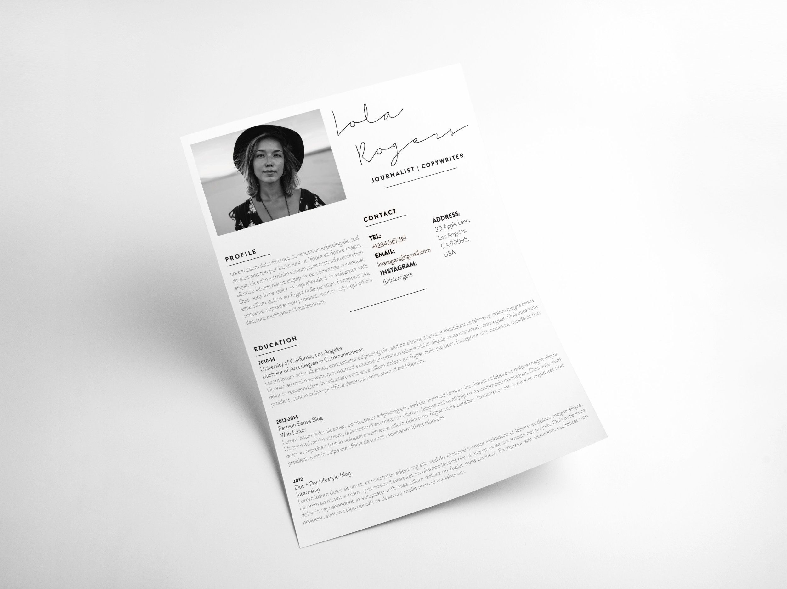 The Lola  Modern Resume Template For Creatives  Modern Cv  Cool