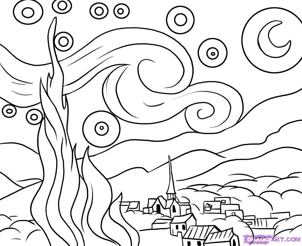 Starry Night By Van Gogh Coloring Page Az Pages Sketch Coloring Page Starry Night Art Night Art Starry Night Van Gogh