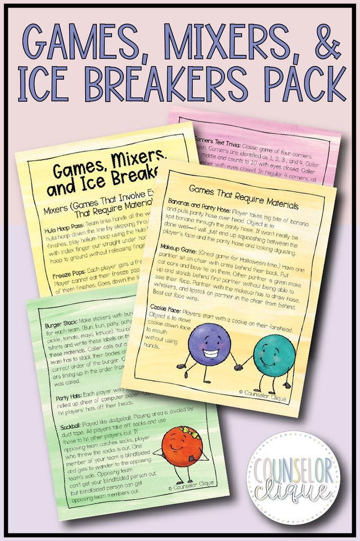 Games, Mixers, and Ice Breakers Pack Games, mixers, and icebreakers for high school kids and teens. Use these for team building, for small groups, for just general activities to get up and moving! Suitable for school counselors or teachers to use at school or in the classroom.