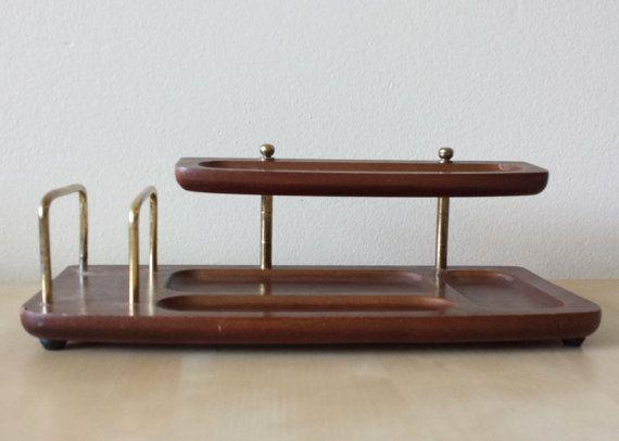 Mid Century Wooden Desk Organizer Vintage Office Decor 1960s Vintage Office Decor Wooden Desk Organizer Wooden Desk