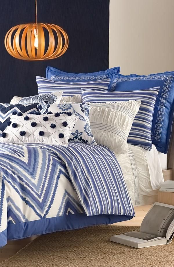 beautiful bedding collection adore the mixed patterns and blue hues rh pinterest com