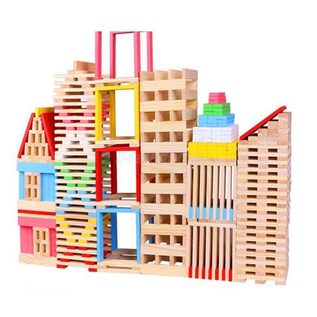 150pcs Colored Amp Plain Wooden Bricks Building Blocks Kid S