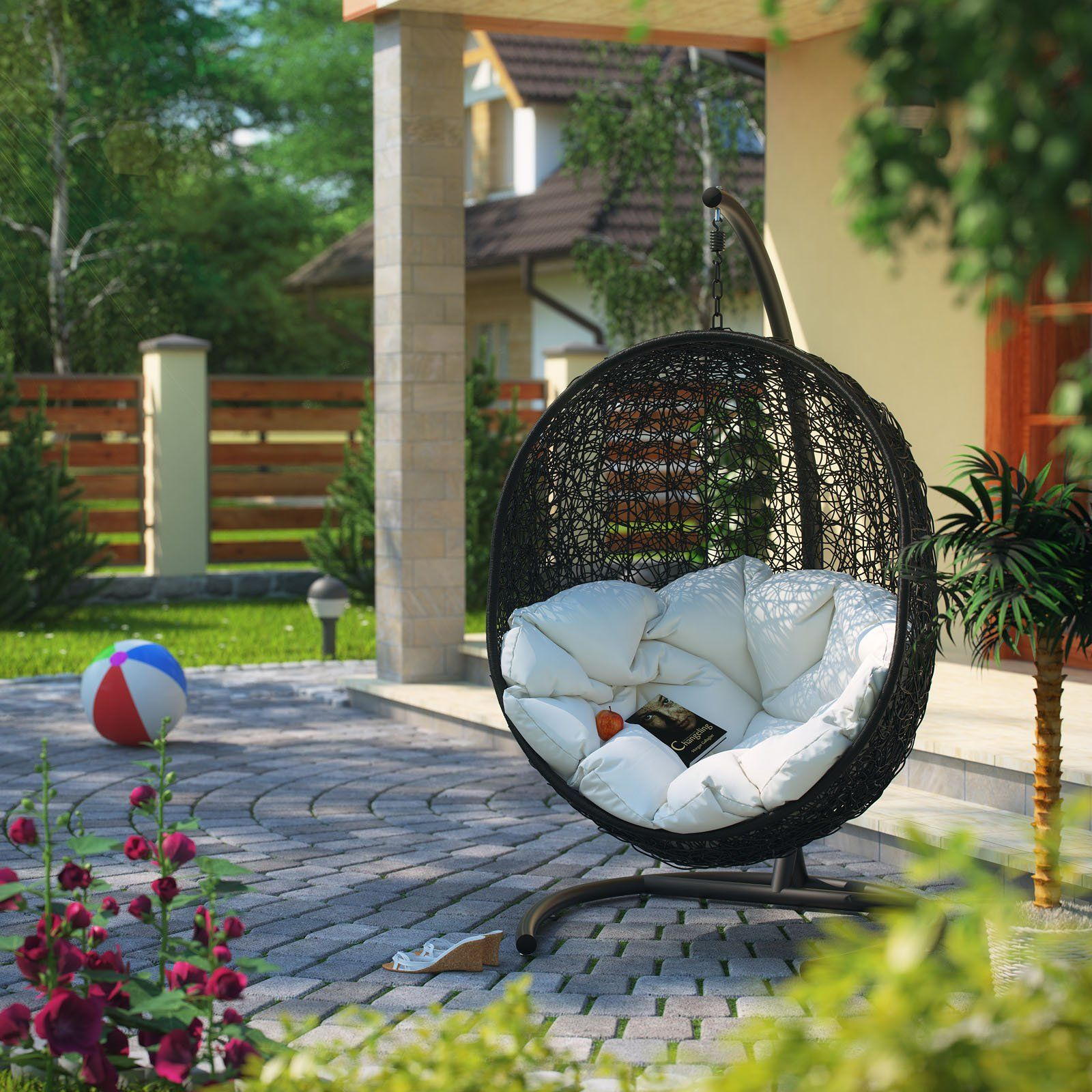 Amazon.com : LexMod Cocoon Wicker Rattan Outdoor Wicker Patio Swing Chair,  Suspension Series : Weather Stations : Patio, Lawn U0026 Garden