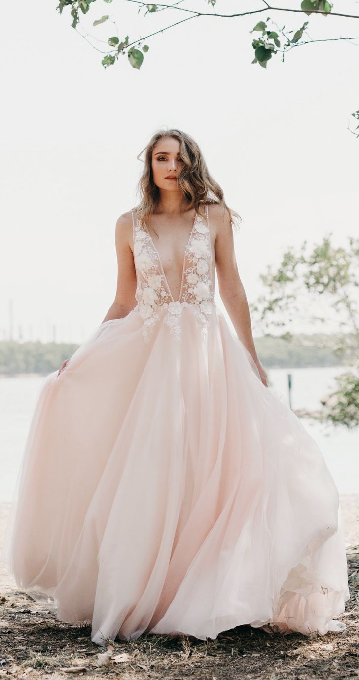 Blush tulle bridal gown lydia by goddess by nature