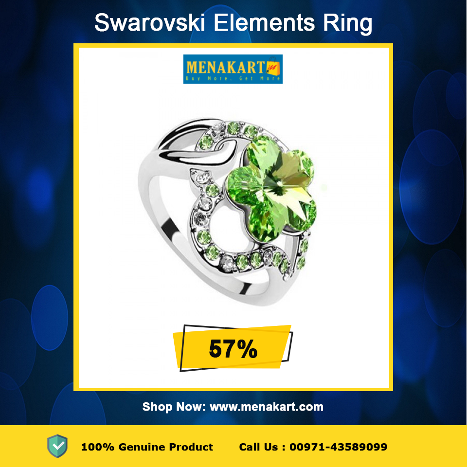 d28ecf93eb Shop for Swarovski Elements 18K White Gold Plated 1.5 cm Green Encrusted  Ring Online