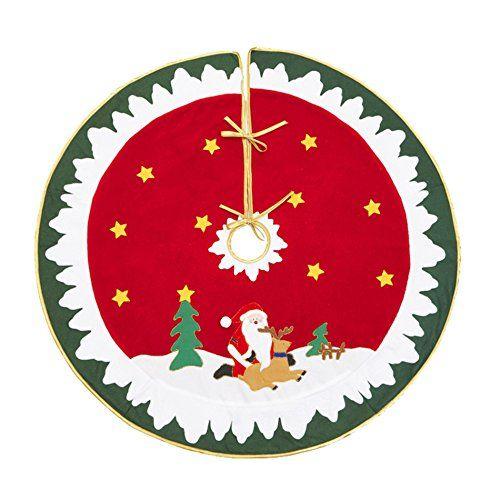 43 Red Christmas Santa Claus Reindeer Snow Tree Skirt Home