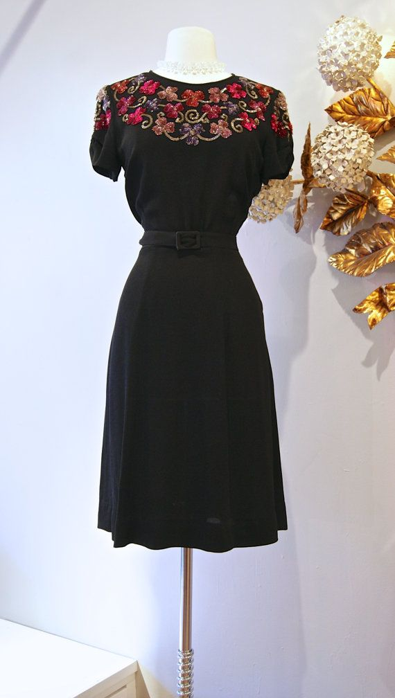 Vintage 1940s Crepe Floral Sequin Cocktail Dress by xtabayvintage, $248.00