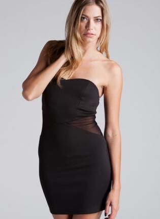 Strapless Fitted Little Black Dress With Mesh Cutouts Dress Mesh