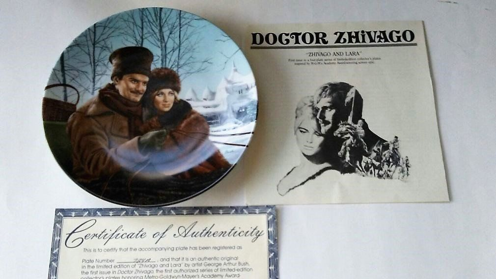 Vintage 1990 Yuri Zhivago and Lara Doctor Zhivago Collector Plate W.S. George ~ COA & Literature ~ MGM Epic Movie ~ George Arthur Bush #epicmovie