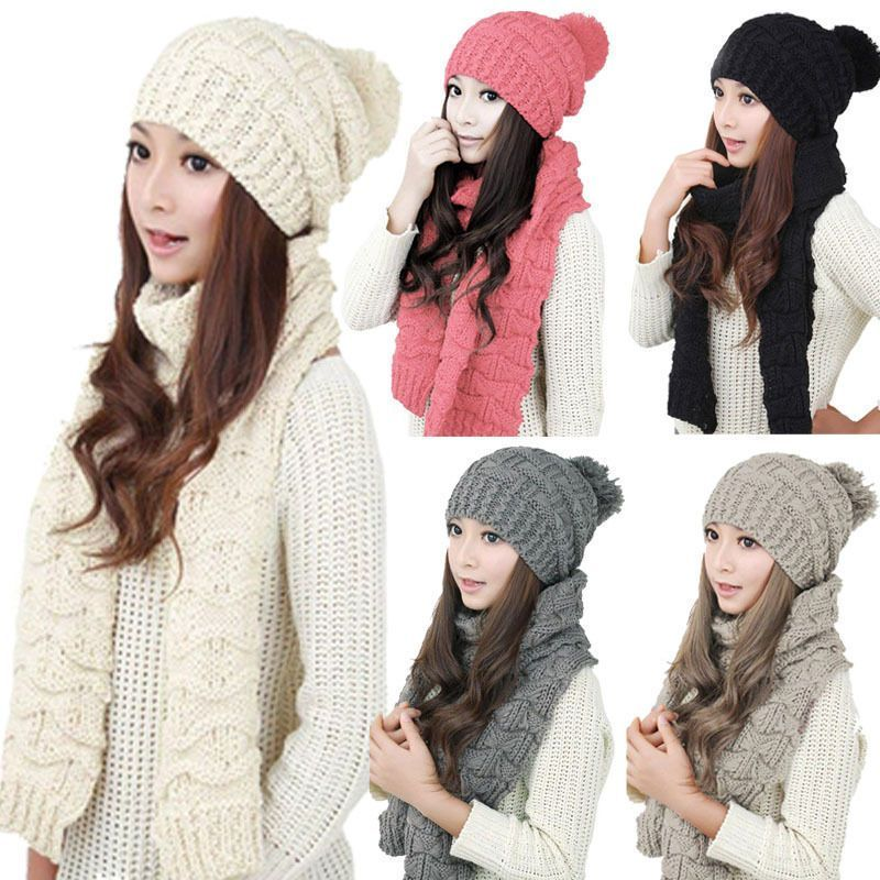 Women\'s Winter Warm Knitted Ski Caps Beanie Crochet Neck Warm Wrap ...
