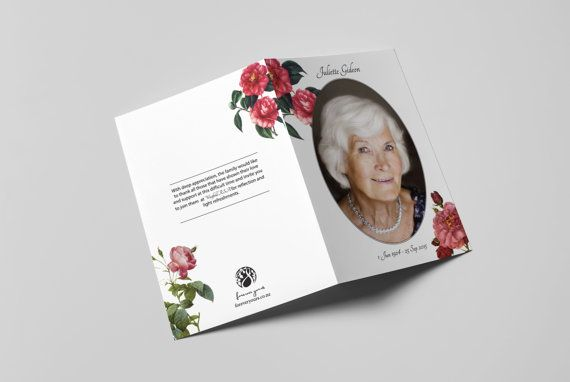 Personalized Memorial Card Red Roses (A5 Booklet) Pinterest - order sheet template