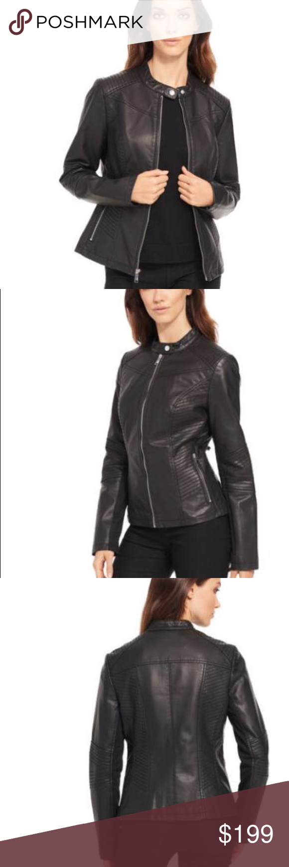 442d13ac4e7 PLUS SIZE Black Rivet Moto Faux-Leather Jacket. 1X Rock an edgy look in  this faux-leather jacket from Black Rivet  tons of seams and a mock collar  create ...