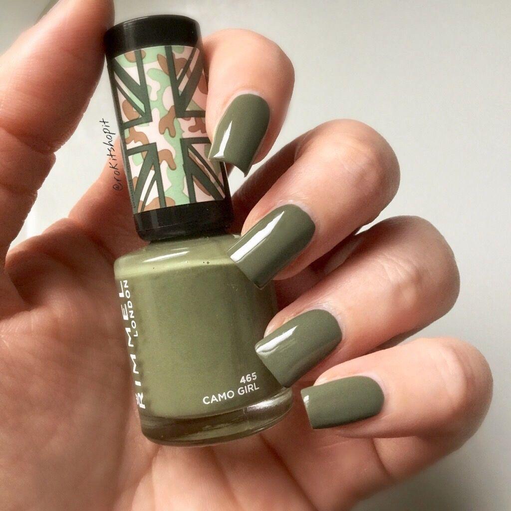 Rimmel London Camo Girl Nail Polish Khaki Green Nails