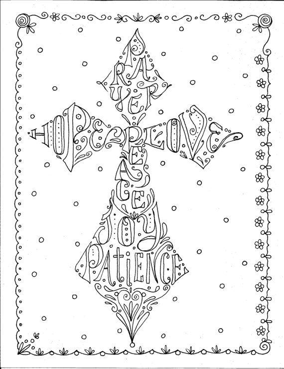 Instant Download Cross Scripture Coloring Page/digital