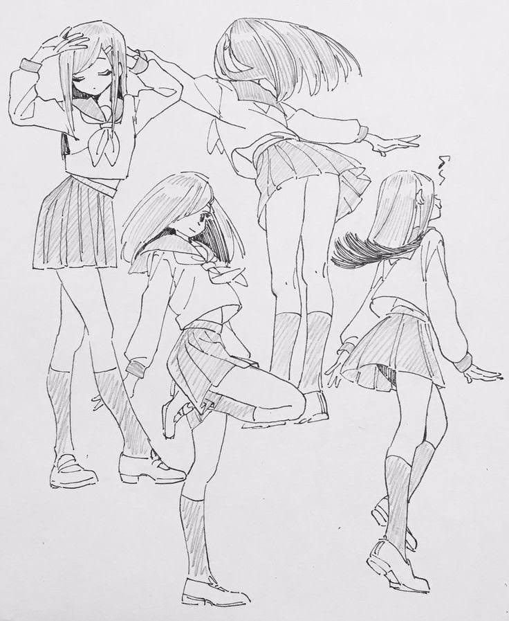 Позы аниме девушек для рисования картинки