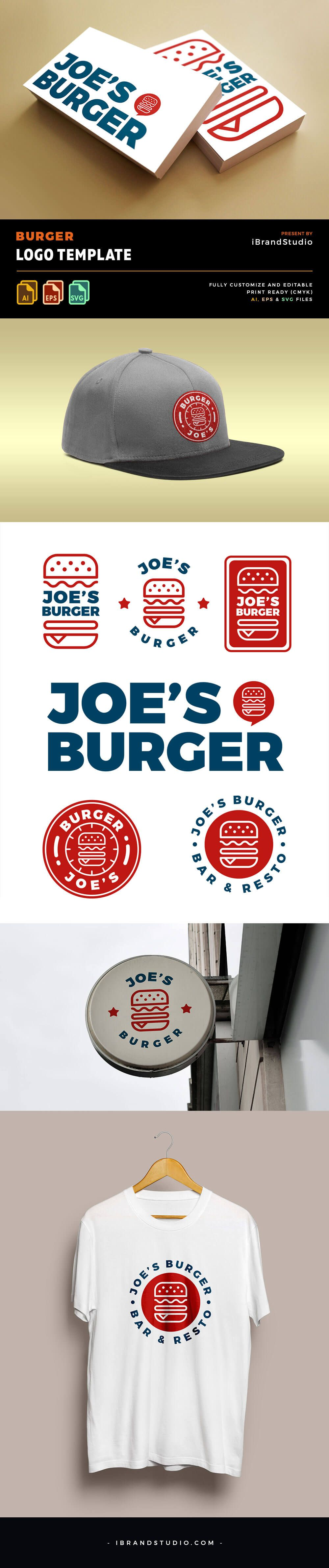 Freebie Burger Logo Templates (6 Styles, AI, EPS, SVG) in