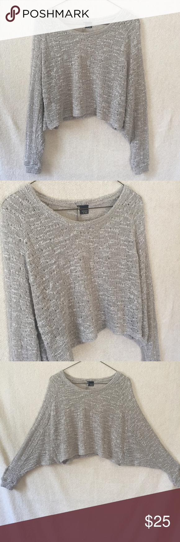 Sparkle&Fade Taupe Cropped Batwing Sweater Light but cozy, cropped ...