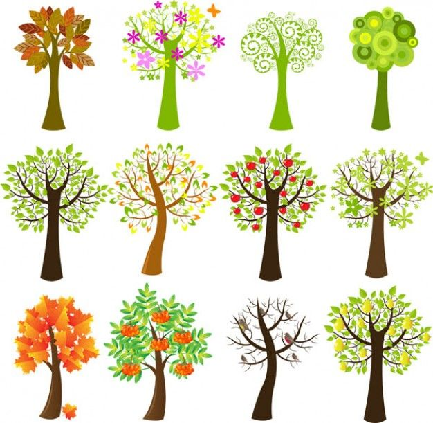 Lovely tree vector material | Download free Vector | trees | Pinterest