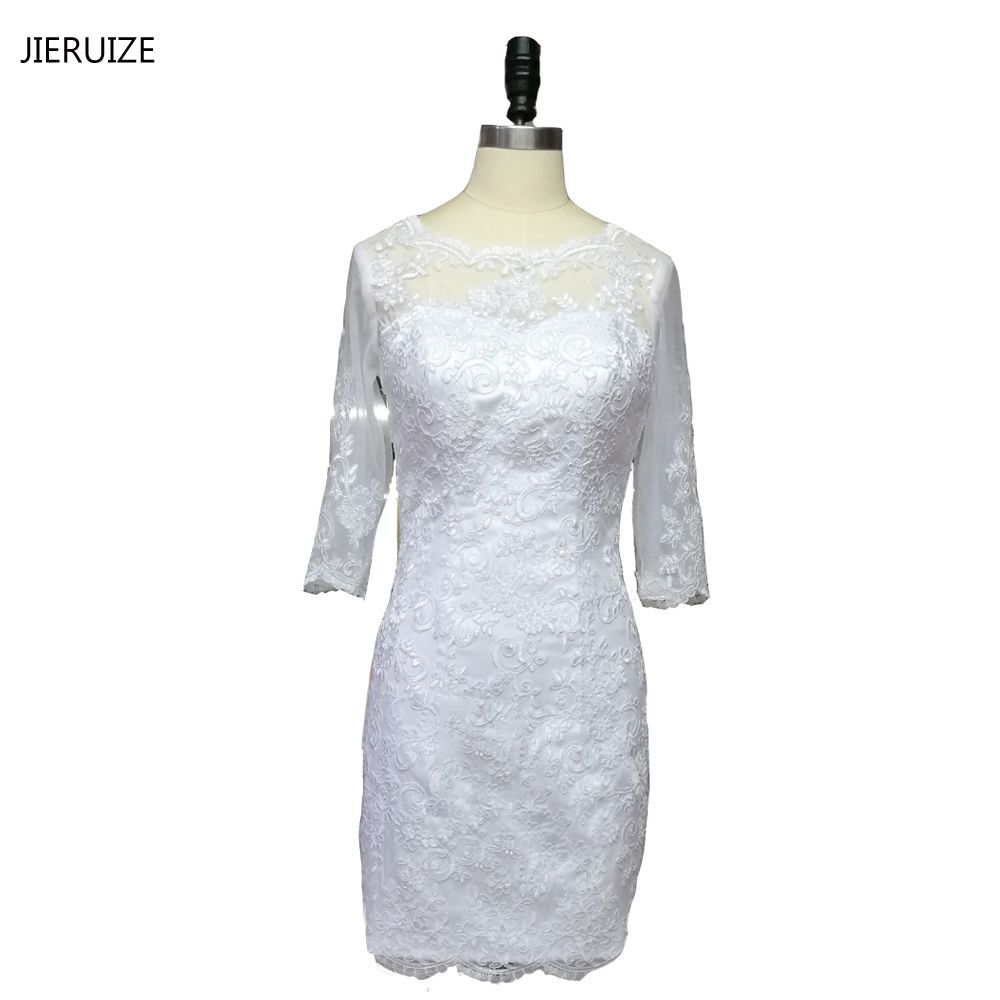 Click to buy ucuc jieruize white vintage lace appliques short wedding