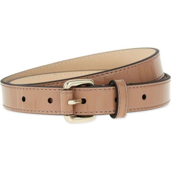 KAREN MILLEN Skinny patent-leather belt (€57) ❤ liked on Polyvore featuring accessories, belts, bright orange, orange belt and karen millen