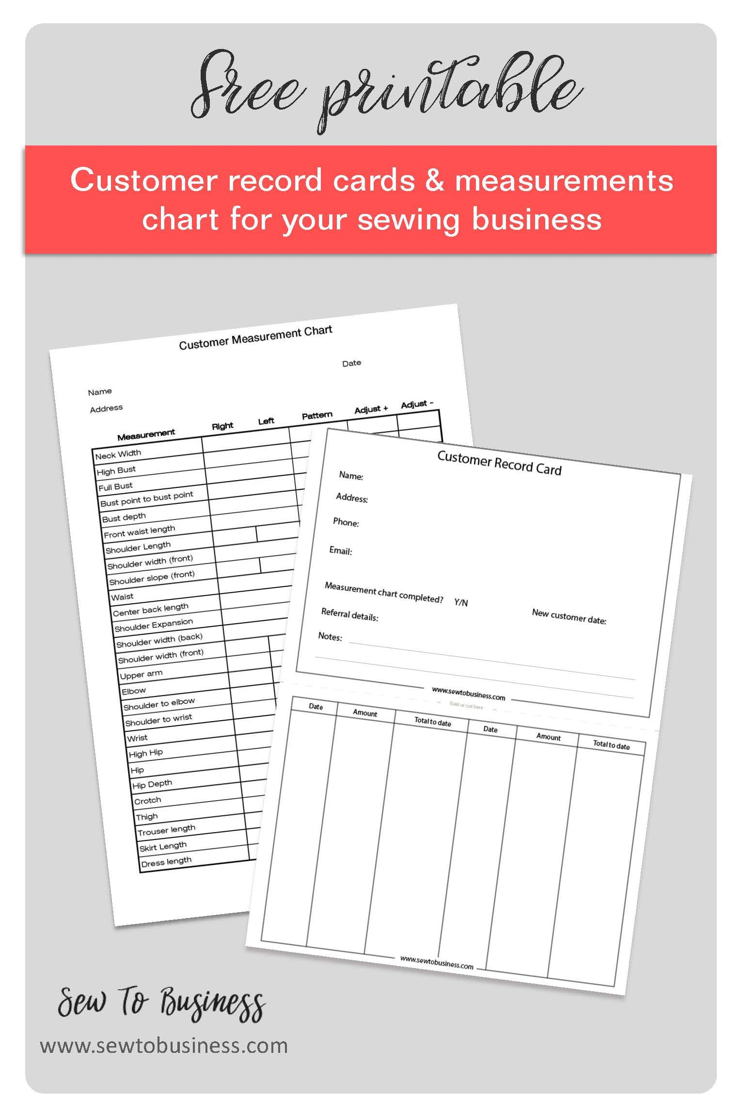 Free printable customer record cards and measurements
