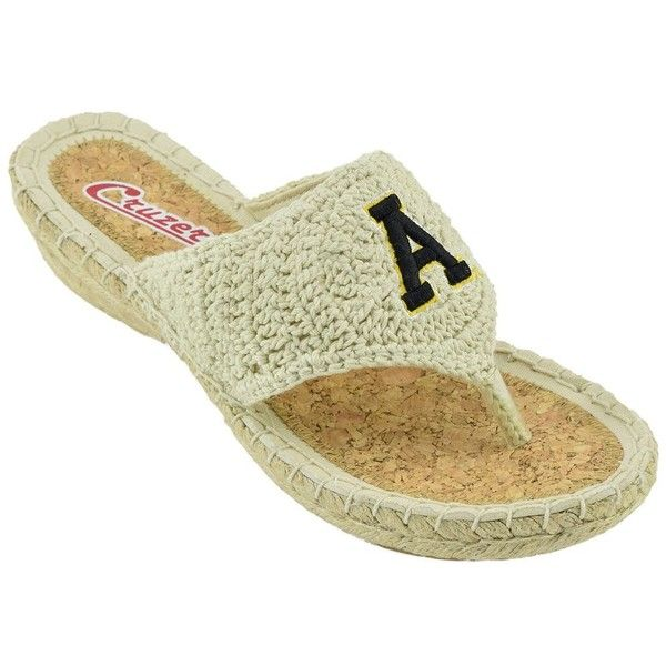 Women's Campus Cruzers Appalachian State Mountaineers Pregame... (€11) ❤ liked on Polyvore featuring shoes, sandals, flip flops, wedge sandals, wedge flip flops, crochet wedge sandals, wedge heel sandals and beige sandals