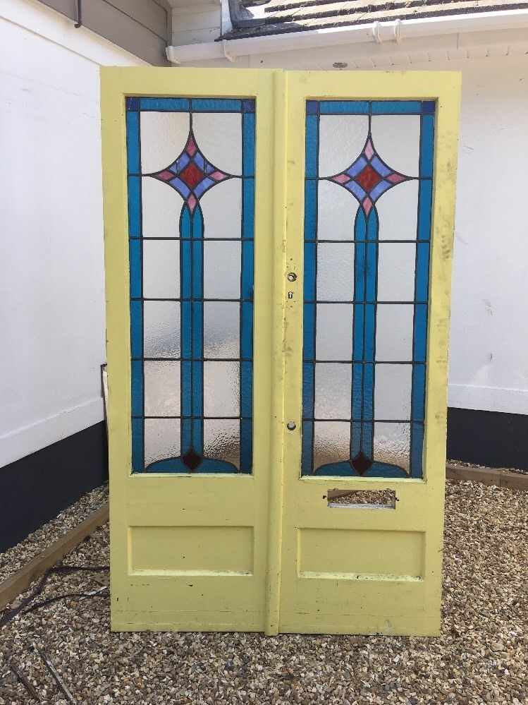 Art Deco Stained Glass Doors Period Reclaimed Old Edwardian Wood
