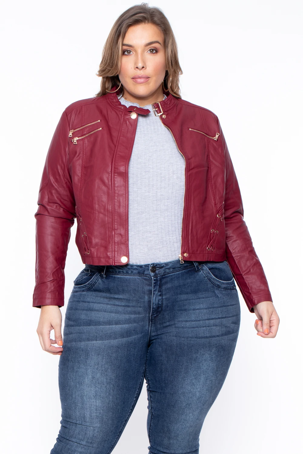 Plus Size Faux Leather Bad Girl Jacket Burgundy Curvy
