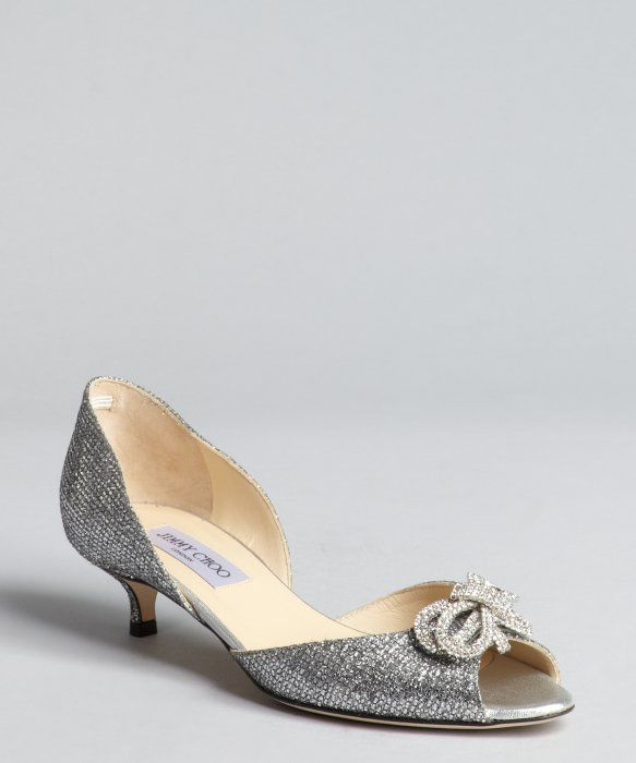Jimmy Choo silver glitter mesh crystal bow 'Sapphire' d ...