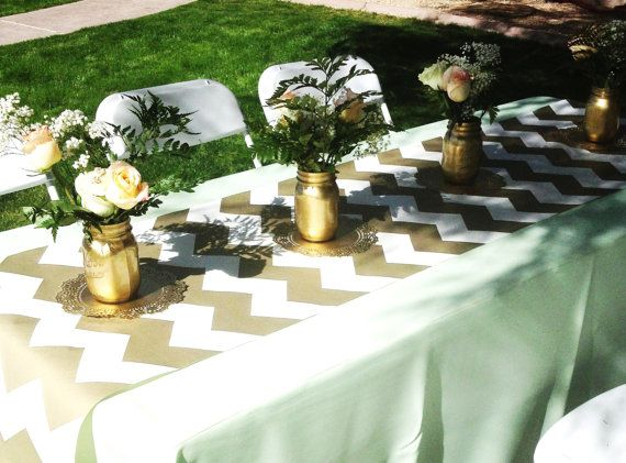 Gorgeous Gold Chevron Table Runner Gift Wrap Paper Place Mat 6 Feet