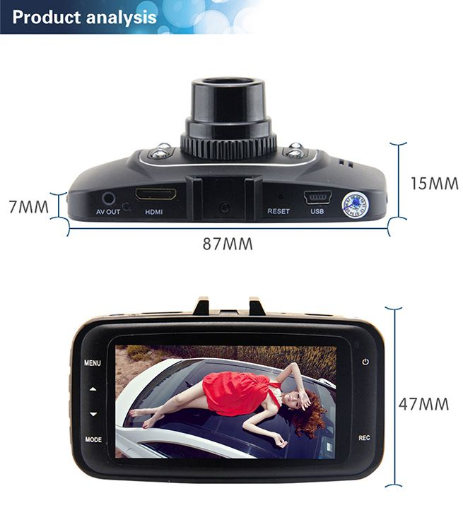 Novatek 140 Wide Angle 1080P 2.7inch LCD Car DVR Vehicle Camera Video Recorder Dash Cam GS8000L
