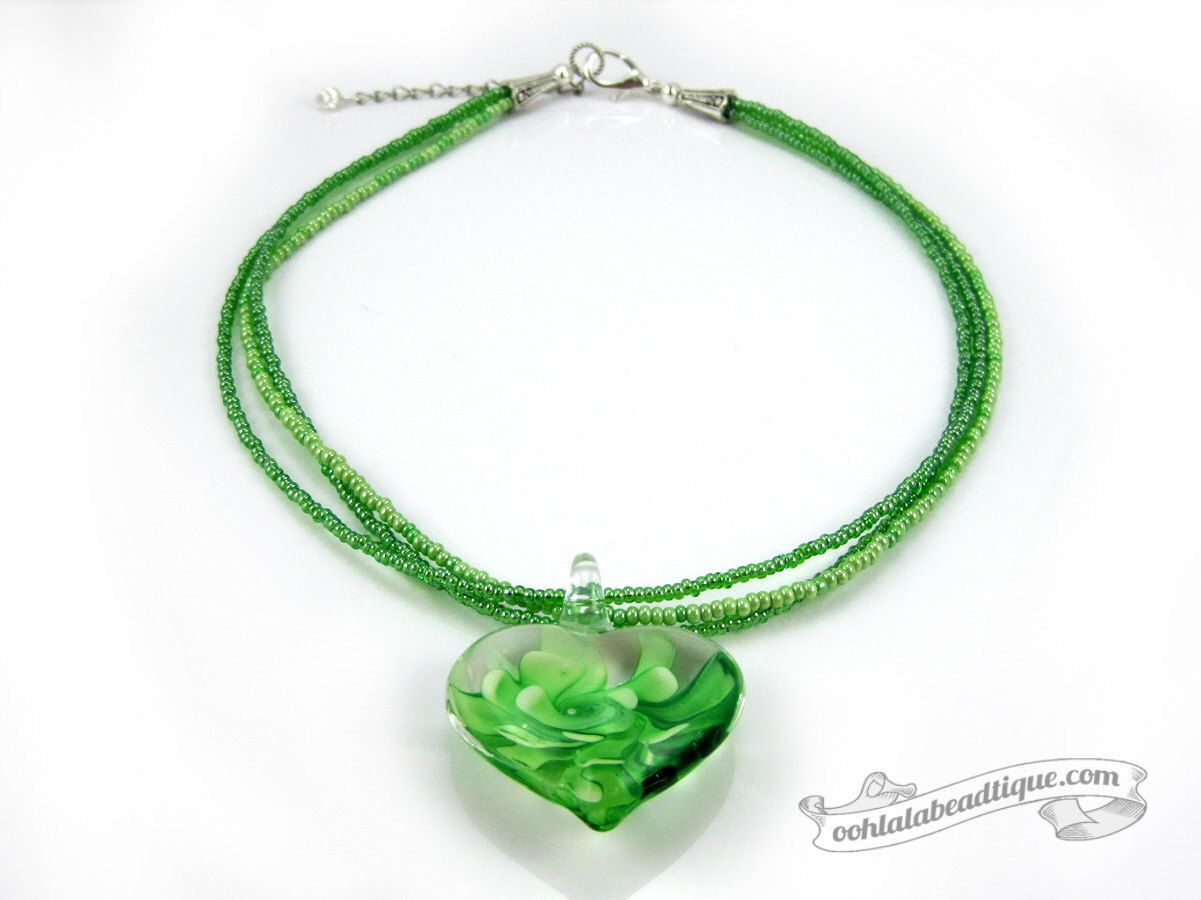 Green glass heart necklace green choker lampwork necklace glass glass bead necklaces glass beads beaded necklaces handmade necklaces heart necklaces glass pendants glass jewelry statement necklaces murano glass mozeypictures Image collections