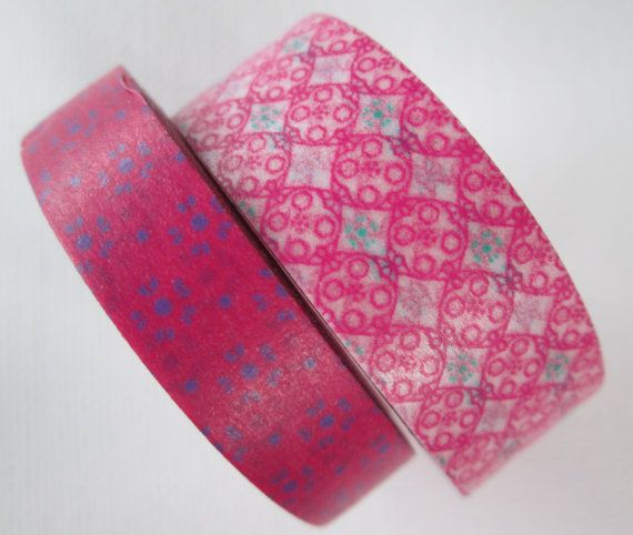 Washi Tape  2 Rolls  Mixed Patterns  Pink and by HazalsBazaar, $5.00
