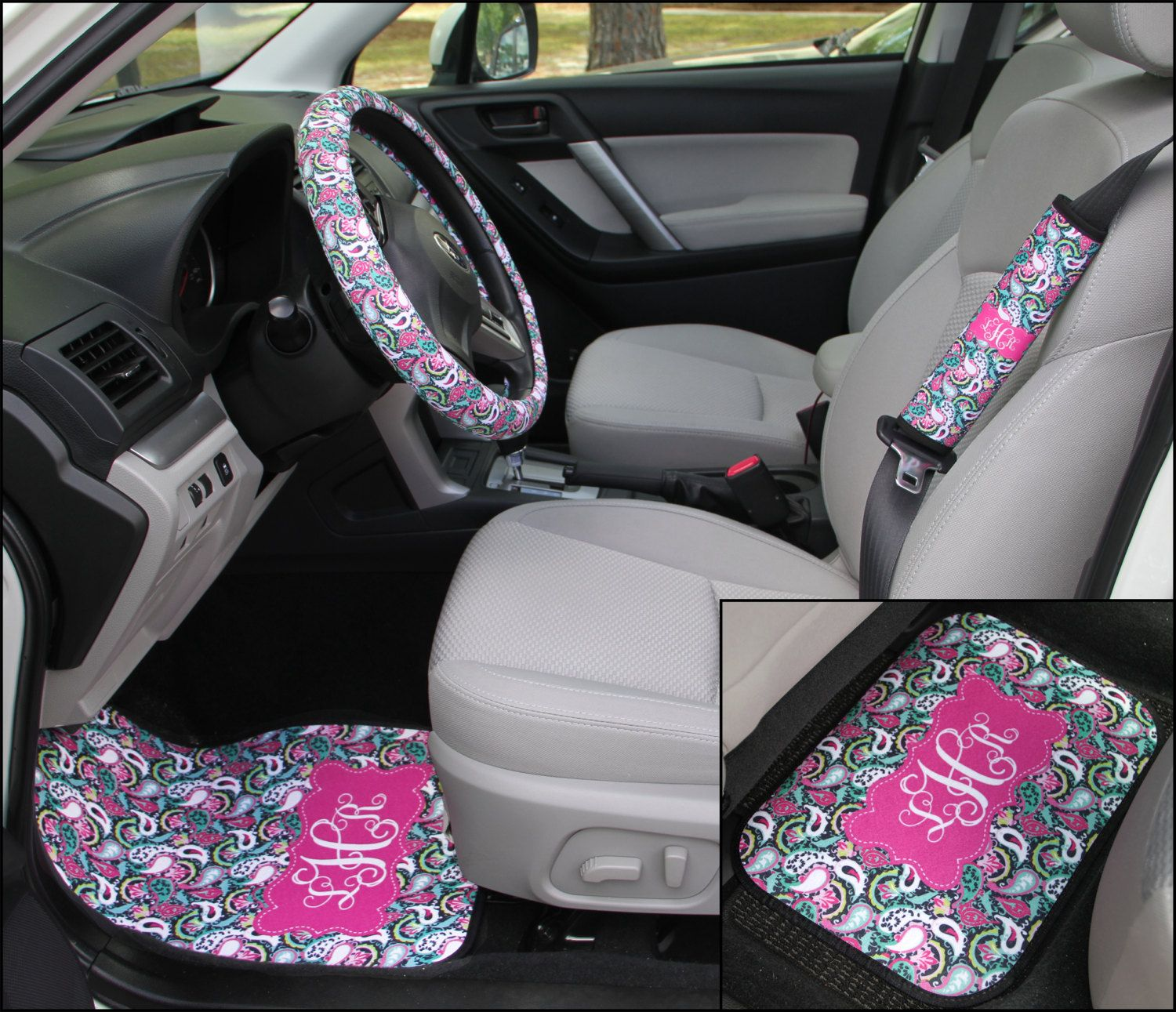 Paisley Swirls Lilly Inspired Car Accessories Car Mats Steering ...